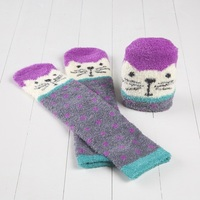 Natural Life: Cozy Crew Socks - Cream Cat