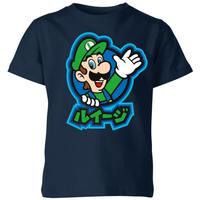 Nintendo Super Mario Luigi Kanji Kids' T-Shirt - Navy - 9-10 Years image
