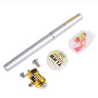 Ape Basics Portable Pocket Mini Pen Telescopic Fishing Rod & Reel Combo set - Silver