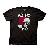 Grumpy Cat Ho Ho No Black T-Shirt (Large)