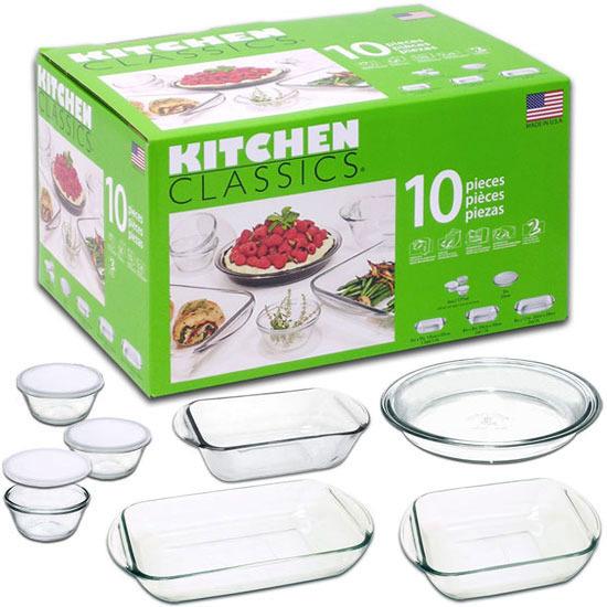 Kitchen Classics Glass Bakeware Set (10 Pieces)