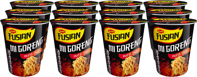 Maggi Fusian Cup Noodles - Mi Goreng Hot & Spicy (65g x 12 Packs)