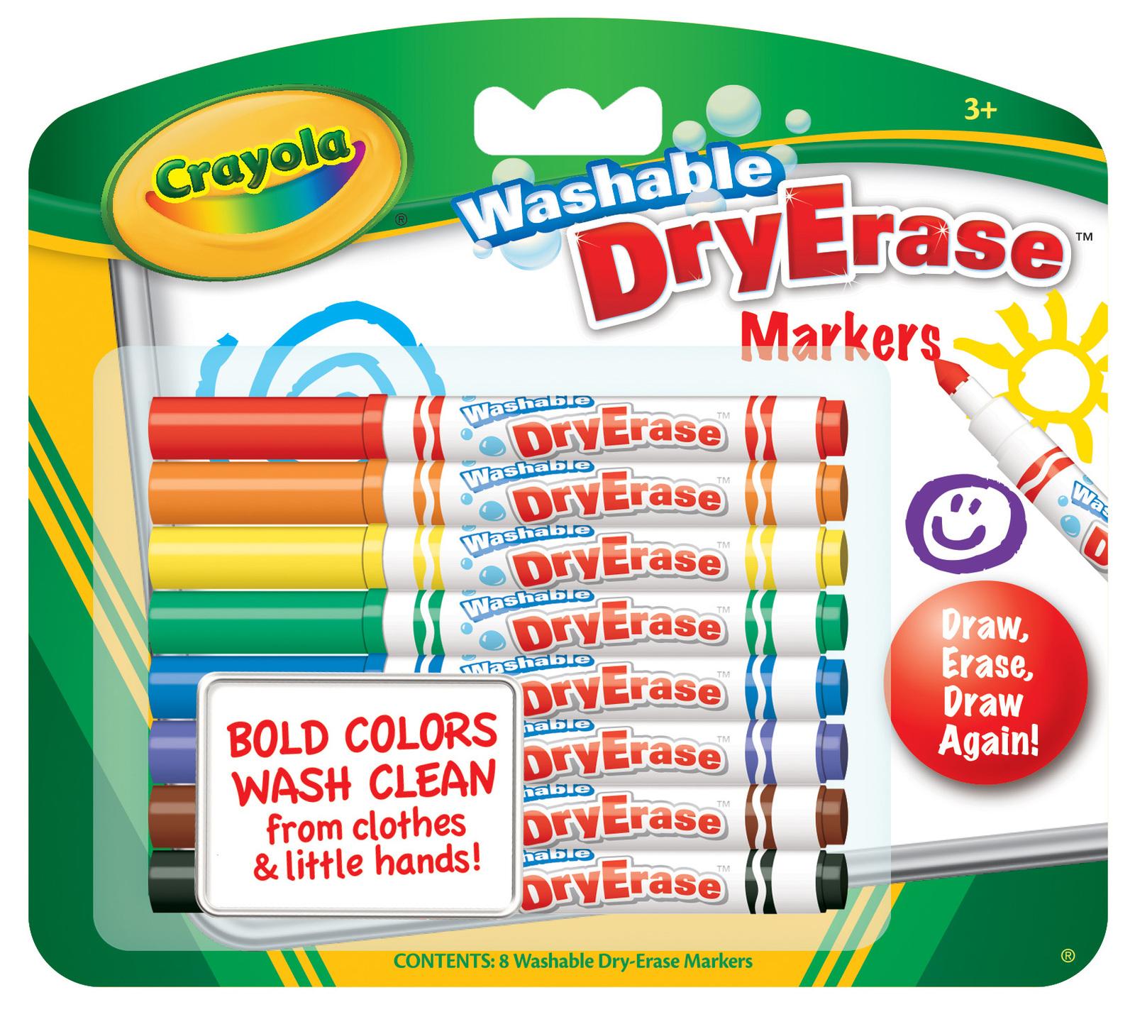8 Washable Dry Erase Skinny Markers - Crayola image