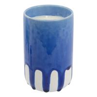 Crackle Glaze Scented Candle in Holder - Coastal Cobalt (Tea Tonic)