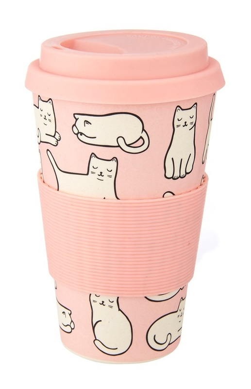 Sass & Belle: Cutie Cat - Bamboo Coffee Cup (400ml)