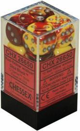 Chessex Gemini 16mm D6 Dice Block: Red-Yellow/Silver