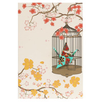 Short Story: Card Crane in Cage Flowers Aqua