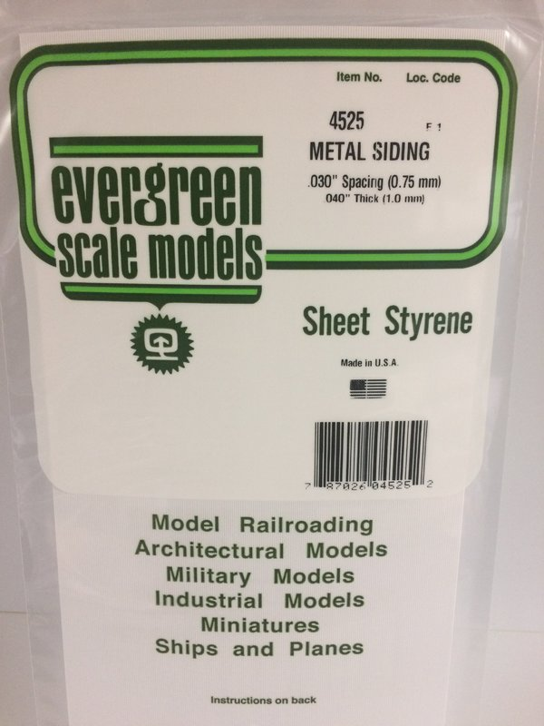 Evergreen Styrene Siding 15X29cm X 1 mm .75 mmsp