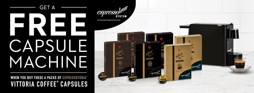 Vittoria Coffee Capsule 6 Pack Bundle with Free Capsule Machine image