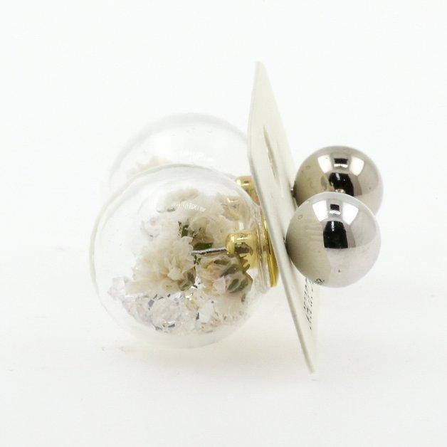 Short Story: Fantasy Bubble Earrings Flower White Gold Stud