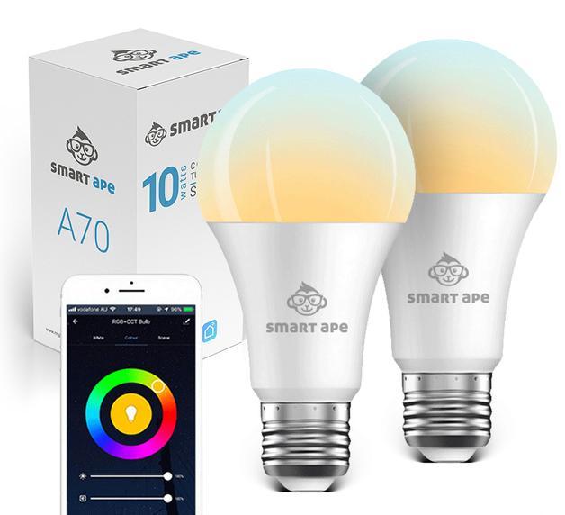 Smart Ape: 10W Colour & Warm/Cool White Smart Bulb (E27) - 2 Pack