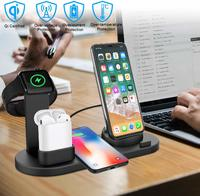 Three-in-One Rotatable Charging Dock with Wireless Charging for iPhone - Black image