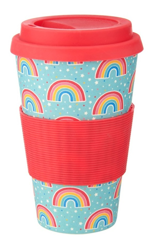 Sass & Belle: Chasing Rainbows - Bamboo Coffee Cup (400ml)