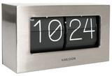 Karlsson: Table Clock (Flip) - Brushed Steel