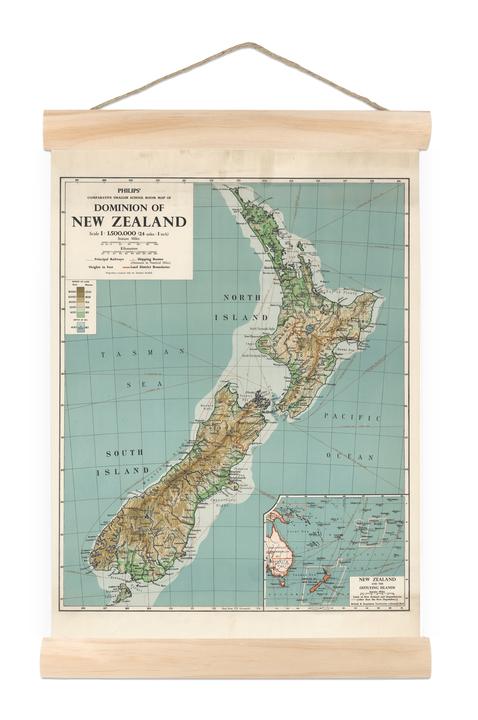 Map Of Australia Nz.Nz Dominion Map Mini Wall Chart At Mighty Ape Australia