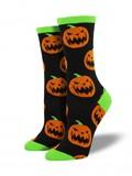 Halloween Pumpkins Crew Socks - Black