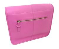Millenium Paris: Maxime Leather Messenger Bag with Floral Lining - Pink