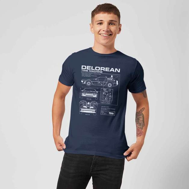 Back to the Future: DeLorean Schematic T-Shirt - Navy/Medium