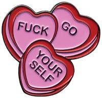 Sourpuss Candy Hearts Enamel Pin