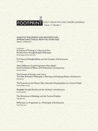 Footprint 20 Analytic Philosophy and Architecture - Approaching Things from the Other Side Vol 11/1 image