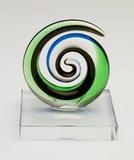 Mini Koru Circle on Crystal Stand - Black, Blue & Green (55mm)