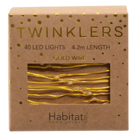 Twinklers: Indoor Warm White LED Lights - Gold String