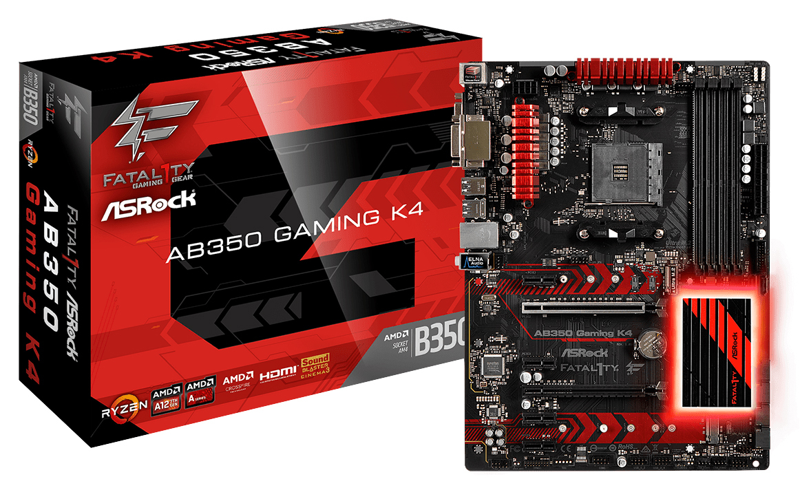 ASRock AB350 Gaming K4 AM4 ATX Motherboard image