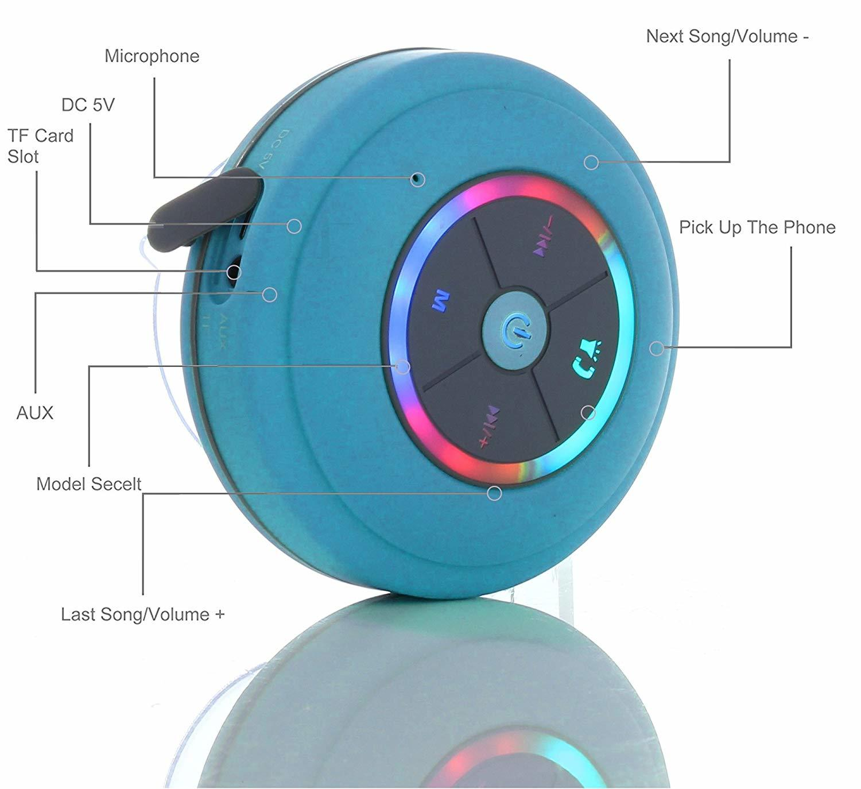 Ape Basics Waterproof Portable Shower Bluetooth Speakers - Blue image