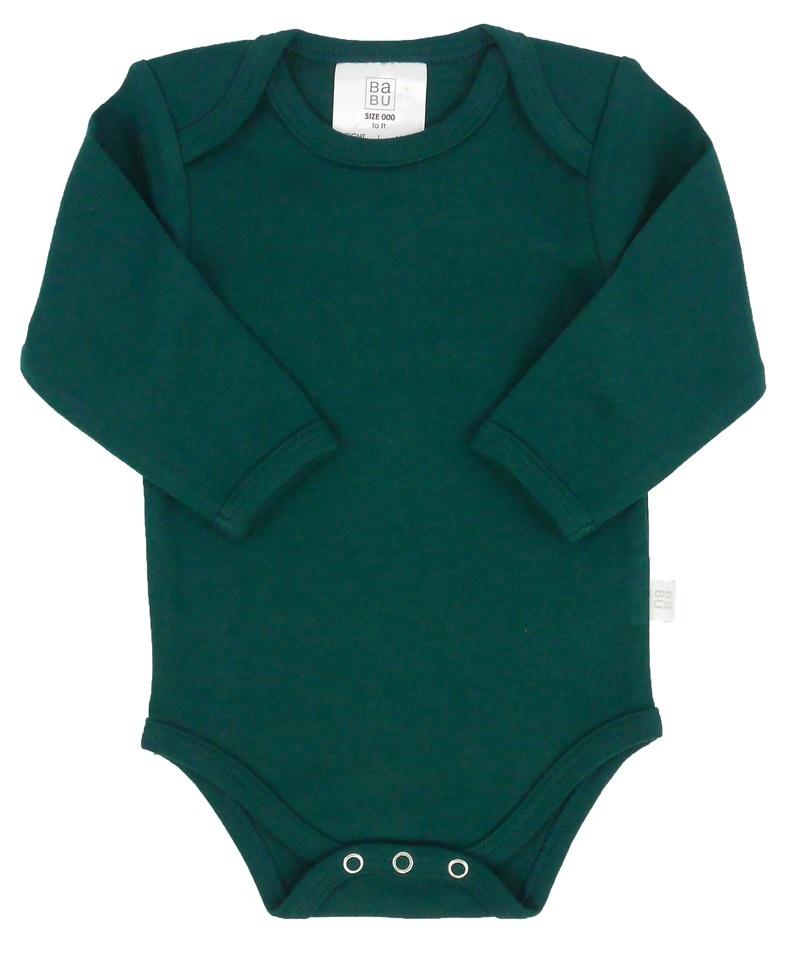 Babu: Organic Envelope Neck Sleeved Bodysuit - Tui Green (6-12m) image