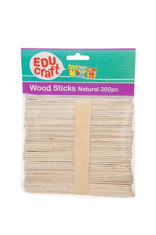 Educraft: Wood Sticks Pack 200 Natural