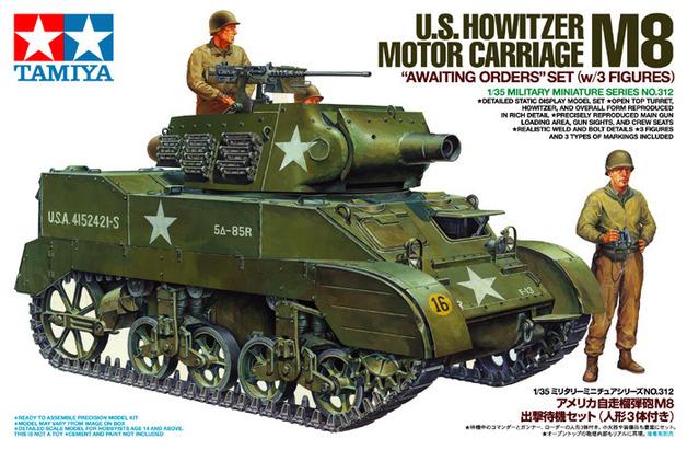 "Tamiya U.S. Howitzer Motor Carriage M8 ""Awaiting Orders"" 1/35 Model Kit"