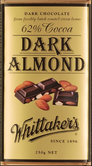 Whittakers Dark Almond Gold Block (250g)