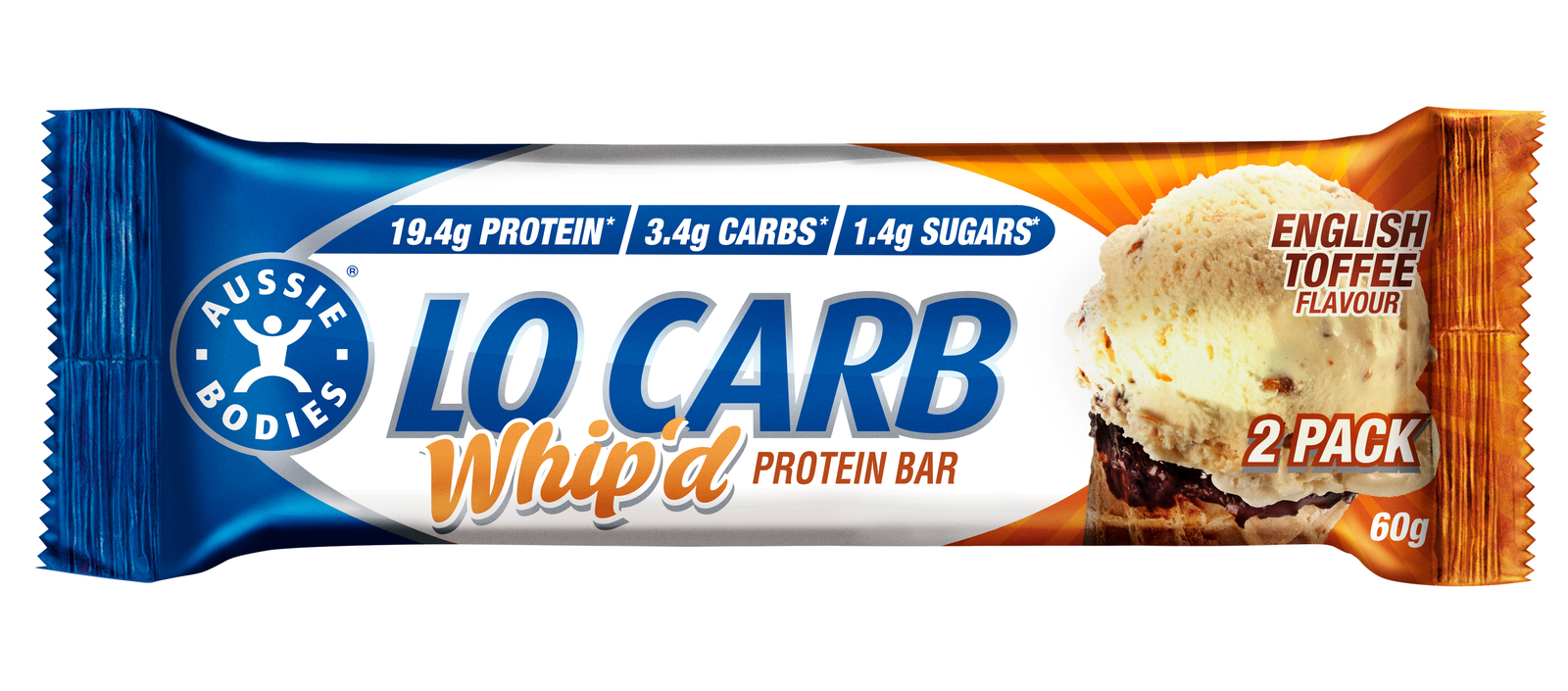 Aussie Bodies Lo Carb Whip'd Protein Bars - English Toffee (12x60g) image