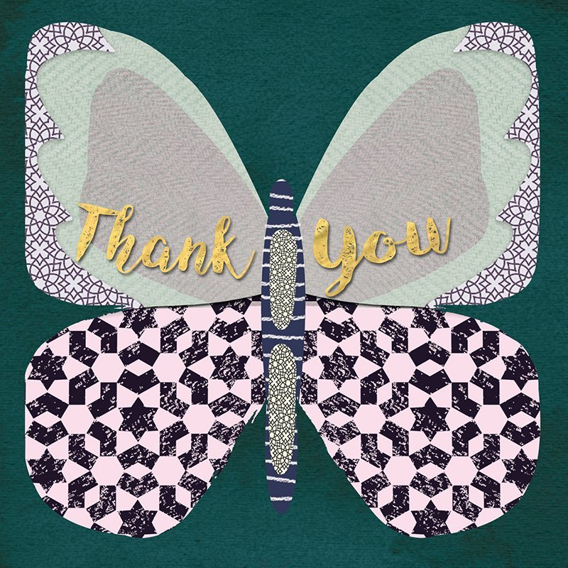 Hammond Gower: Thank You Butterfly Mosaic - Greeting Card Set image
