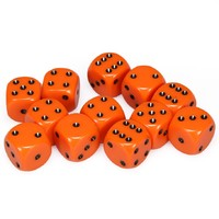 Chessex: D6 Opaque Cube Set (16mm) - Orange/Black image