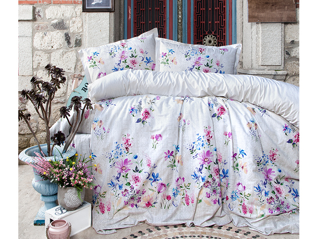 King Size Duvet Cover Set - White Floral