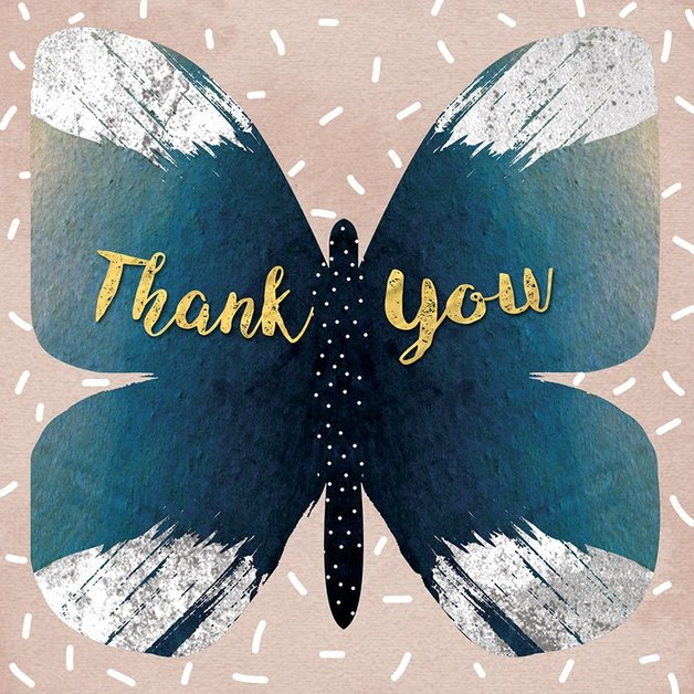 Hammond Gower: Thank You Butterfly White - Greeting Card Set