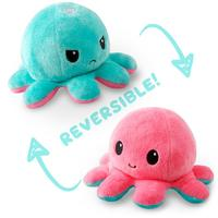 TeeTurtle: Reversible Mini Plush - Octopus (Aqua/Pink)