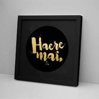 Haere Mai Black on Black Foli Print - Framed