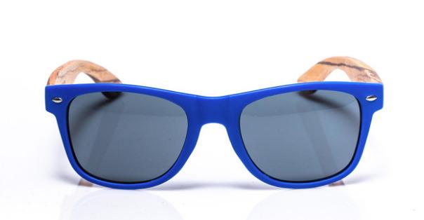 Electric Pukeko: Polarised Wooden Arm Sunglass - Blue