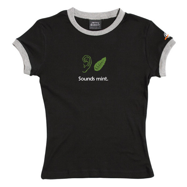 Sounds Mint - Female Ringer Tee (Black) for
