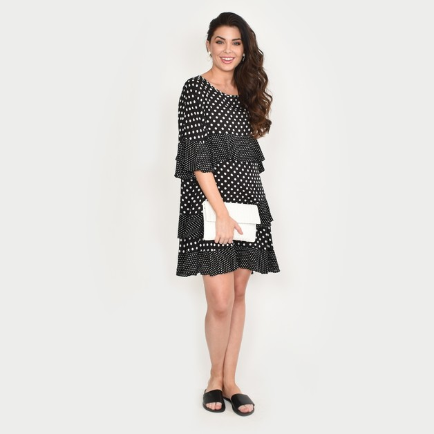 Adorne: Lozzy Frill Dress Mono - M/L