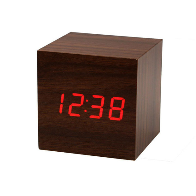 Wooden Grain Digital Voice Control Desk Alarm Clock - Wood