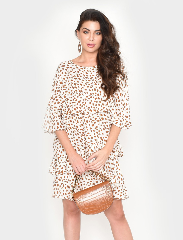 Adorne: Lozzy Frill Dress Animal Print - S/M