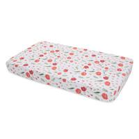 Little Unicorn - Cotton Muslin Cot Sheet - Summer Poppy