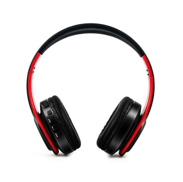 Ape Basics: Portable Wireless Bluetooth Stereo Foldable Headphones- Red