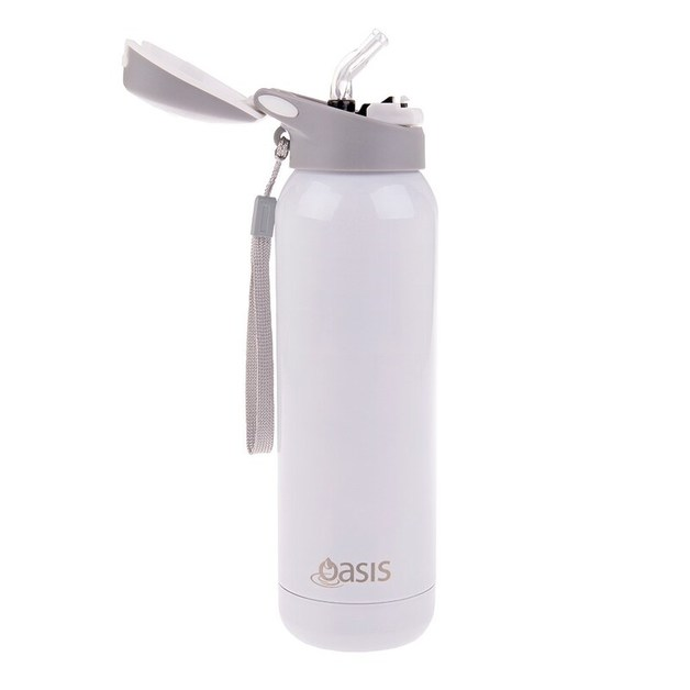 Oasis: Stainless Steel Insulated Drink Bottle W/Flip Straw Lid - White (500ml)