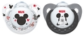 NUK: Mickey Silicone Soothers - 0-6 Months - Black & White (2 Pack)