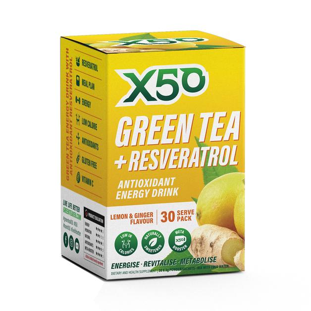 Green Tea X50 + Resveratrol - Lemon & Ginger (30 Sachets)