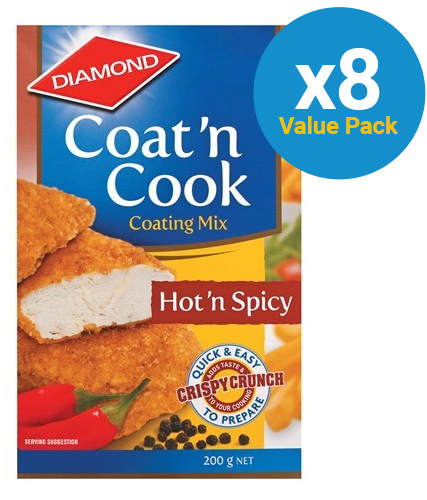 Diamond: Coat 'n Cook Hot 'n Spicy 200g (8 Pack)